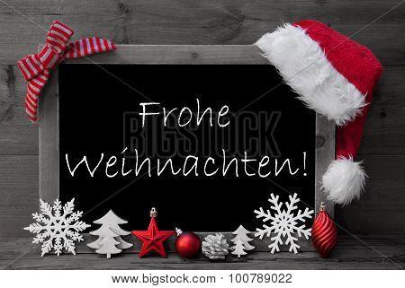 Blackboard Santa Hat Frohe Weihnachten Means Merry Christmas