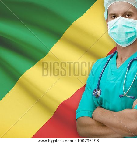 Surgeon with flag on background - Congo-Brazzaville poster