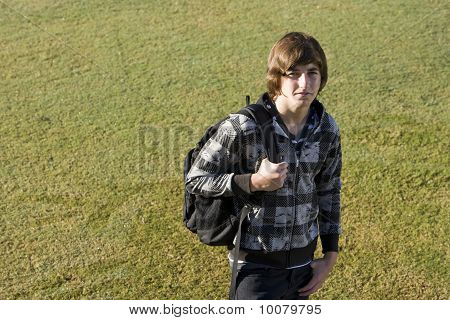 Teenage Boy With School Backpack