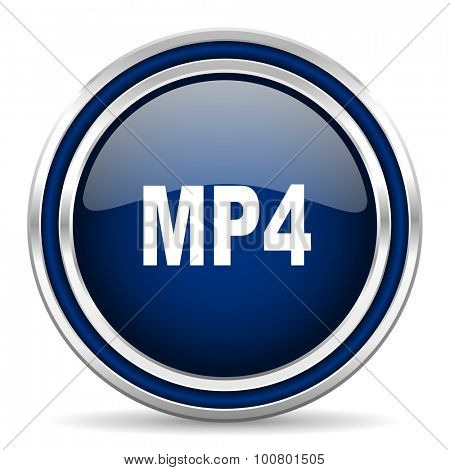 mp4 blue glossy web icon modern computer design with double metallic silver border on white background with shadow for web and mobile app round internet button for business usage