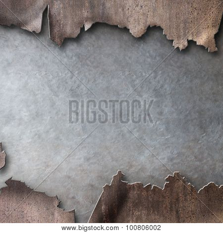 rusty metal with torn hole steam punk background
