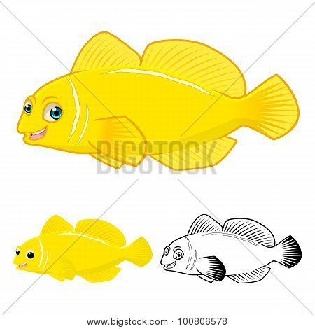 High Quality Lemon Goby Fish Cartoon Character include Flat Design and Line Art Version