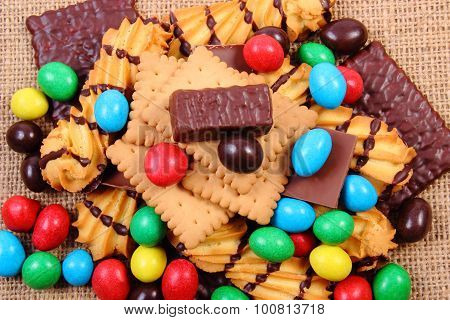 A Lot Of Sweets On Jute Burlap, Unhealthy Food