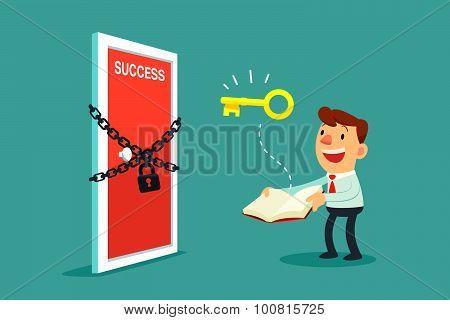 Businessman Open A Book To Unlock Door To Success