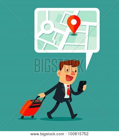 Traveling Businessman Using Map Application On Smart phone