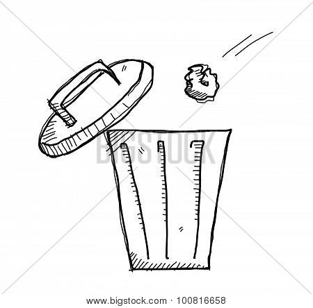 A hand drawn vector doodle illustration of a garbage being thrown inside the garbage bin. poster