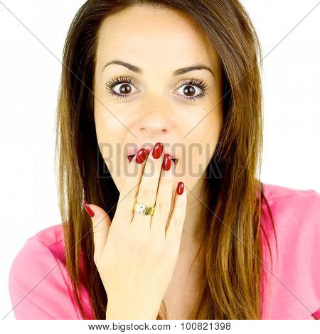 Cute Young Woman Surprised Looking Camera