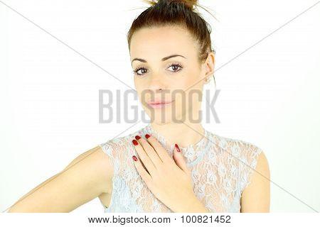 Elegant Beautiful Woman Looking Camera