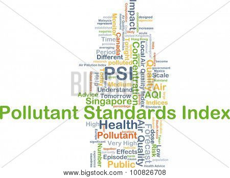Background concept wordcloud illustration of pollutant standards index PSI