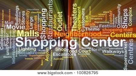 Background concept wordcloud illustration of shopping center glowing light