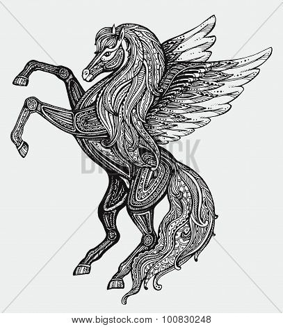 Hand Drawn Pegasus Mythological Winged Horse. Victorian Motif, Tattoo Design Element.