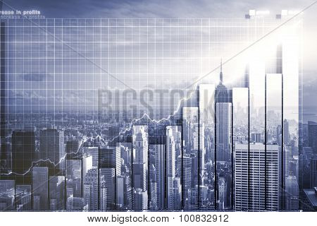 Double Explosure With Business Chart And Skyline