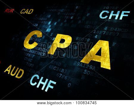 Business concept: CPA on Digital background