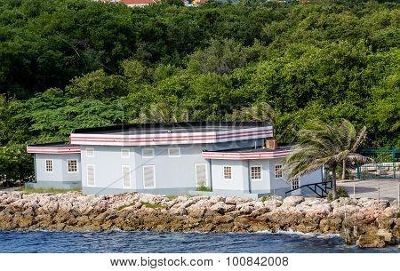 Blue Plaster Building On Tropical Coast