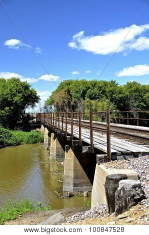Old wooden rural railroad crossing