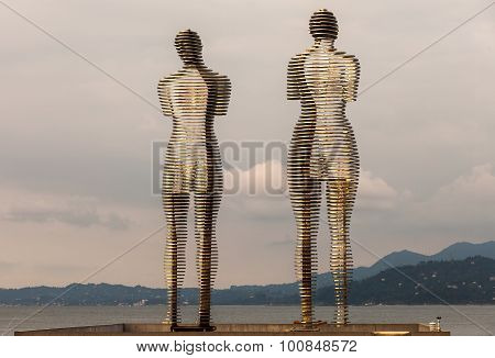 Batumi, Georgia - July 7: Statue Of Love Ali And Nino On July 7, 2015 In Batumi, Georgia. Steel Ali