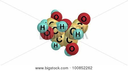 Mannose is a sugar monomer of the aldohexose series of carbohydrates. 3d illustration.