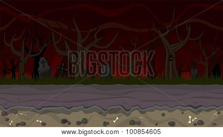 Seamless Scary Landscape With Trees For Game Design