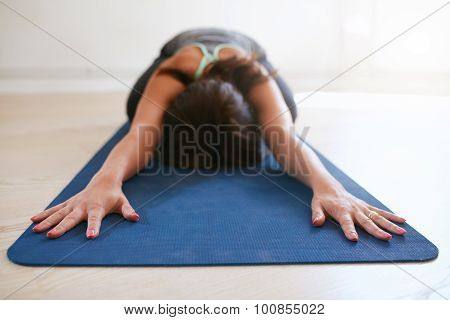 Woman Doing Yoga In Balasana