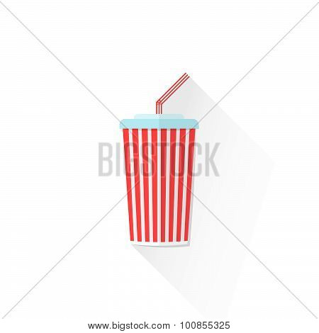 Color Paper Takeaway Cola Cup Icon Illustration.
