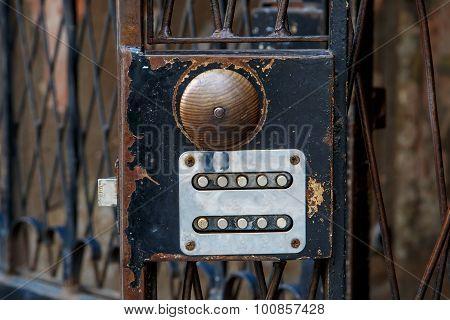 Wooden Doorknob Of Iron Door