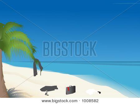 Cloth Of Businessman On The Beach