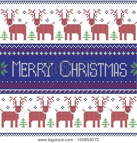 Dark blue, red and green Scandinavian inspired Merry Christmas nordic pattern with  2 rows of  reind