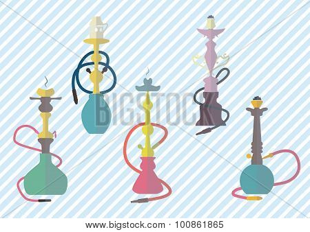 hookah icons colorful set vector illustration