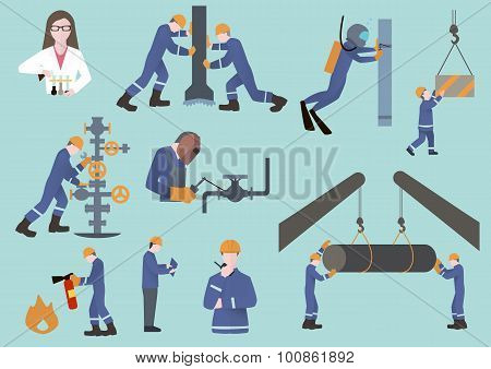 oilman, gasman or oil and gas industry worker on production