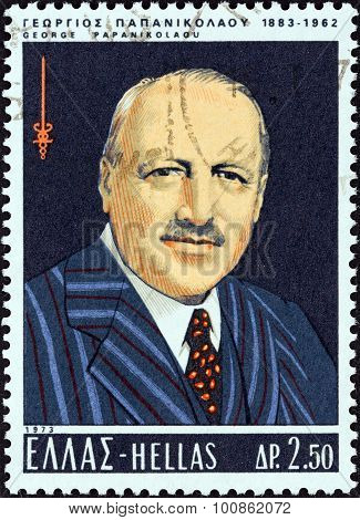 GREECE - CIRCA 1973: A stamp printed in Greece shows Dr. Georgios Papanikolaou (cancer specialist)