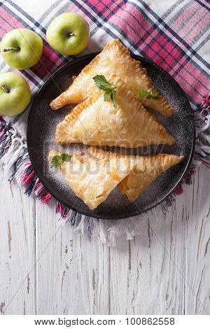 Homemade Apple Pie Turnover On A Plate. Vertical Top View