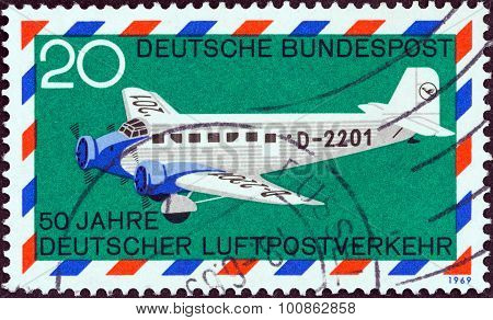 GERMANY - CIRCA 1969: A stamp printed in Germany shows Junkers Ju 52/3m
