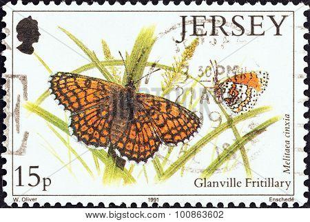 JERSEY - CIRCA 1991: Stamp shows Glanville Fritillary butterfly (Melitaea cinxia)