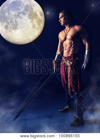 Half Naked Medieval Warrior With A Sword In The Mystic Background