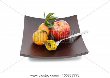 The Mandarins And Apple Isolated On White