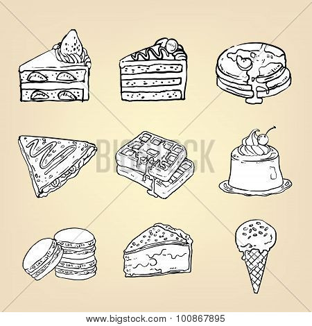 Doodle Pencil Drawing Of Cake Cheesecake Waffle Pudding Macaron Ice Cream Crepe Pancake Pie And Othe