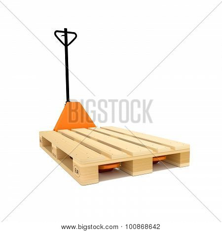 Orange manual hand hydraulic pallet truck and pallet