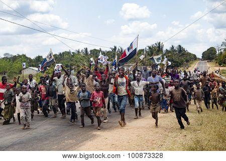 Renamo electoral rally in Nampula, Mozambique