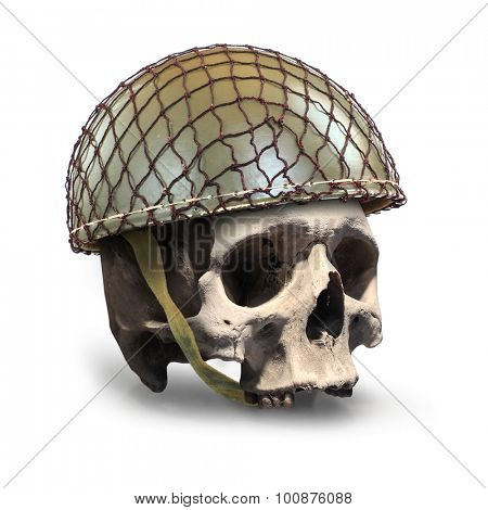 Skull with retro military helmet ( paratrooper's helmet) on a white background. Soldier killed in action. poster