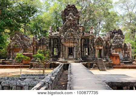Thommanon, part of Khmer Angkor temple complex, popular among tourists ancient landmark and place of worship in Southeast Asia. Siem Reap, Cambodia. poster