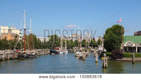 View On The City Center By The Nieuwe Maas In Rotterdam