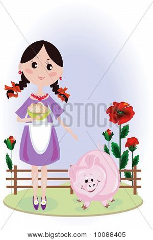 Girl with pig