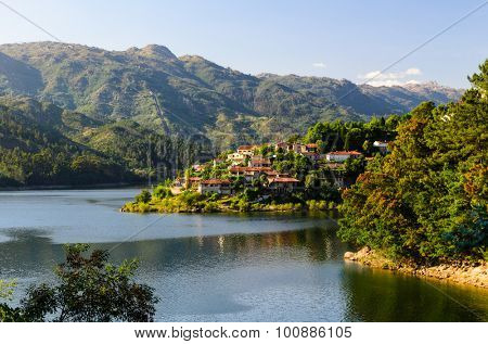 scenic view of Cavado river and Peneda-Geres National Park in northern Portugal.