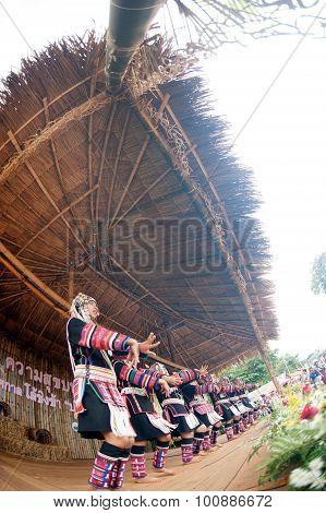 Hill Tribe Dancing In Akha Swing Festival.