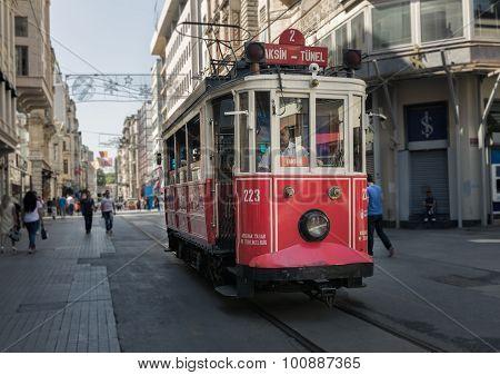 Taksim Tunel Nostalgia Tram In Istanbul
