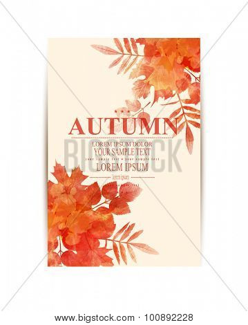 Vector autumn background with orange leaves (imitation of watercolors)