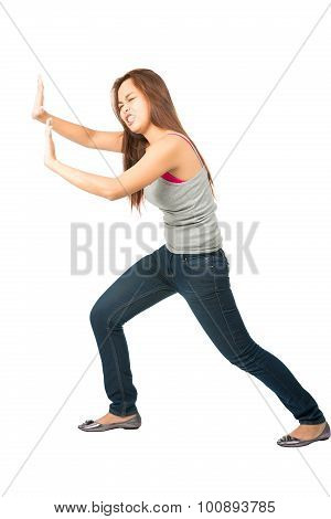 Woman Extended Arms Pushing Against Side Object