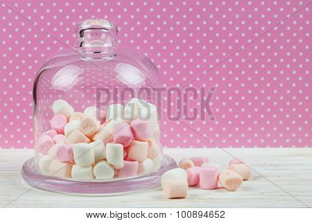 Pink Marshmallow In A Glass Bell