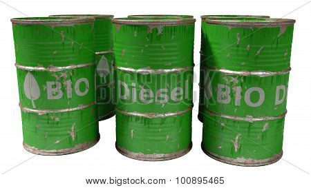 green bio diesel barrels isolated on white