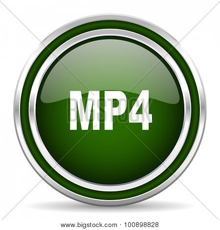 mp4 green glossy web icon modern design with double metallic silver border on white background with shadow for web and mobile app round internet original button for business usage